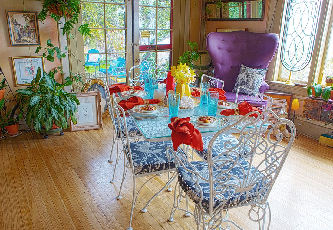 Colorful breakfast table with first course