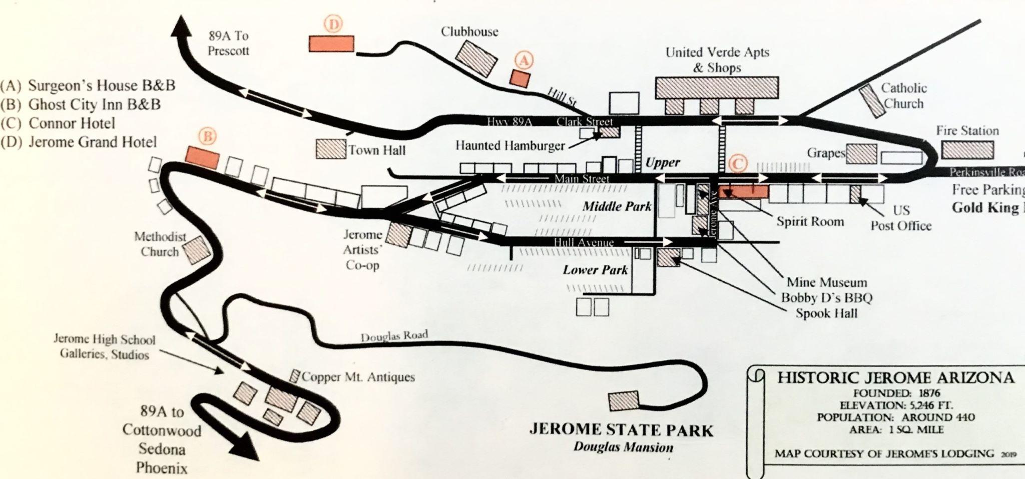 Historic Jerome Lodging Map
